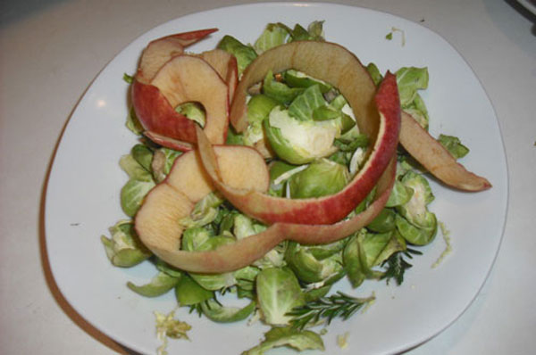 sprouts and apple peel before liquidisin
